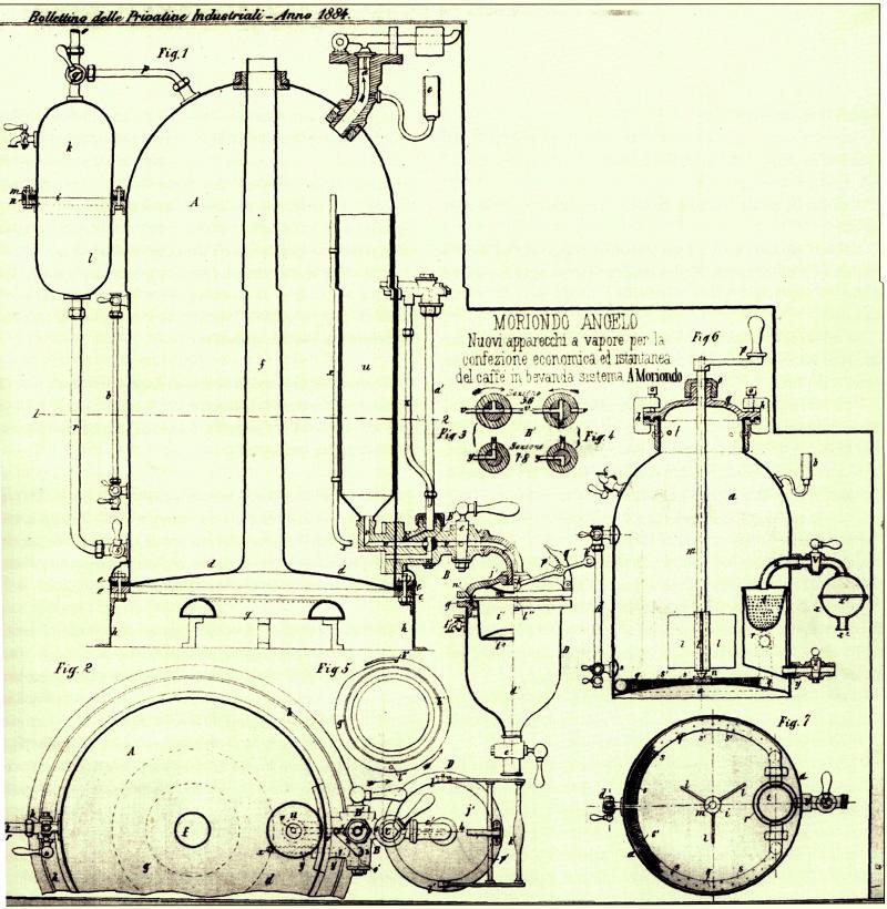 Чертеж одной из первых эспрессо машин Анжело Мориондо
